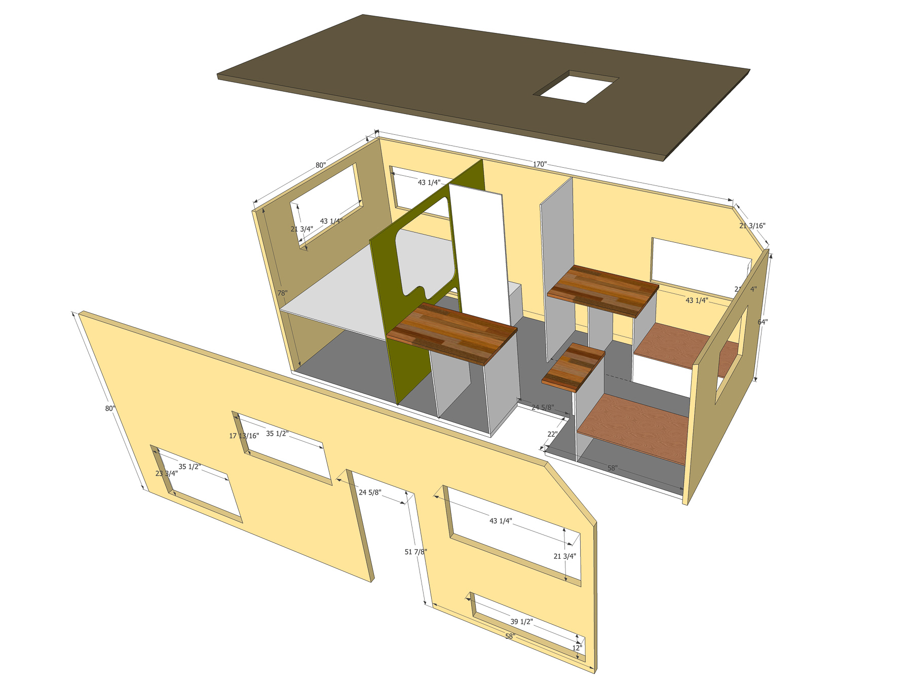Final plans for the Overlander with a dinette that converts into a bed.